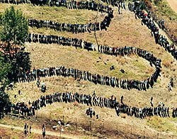 People queueing to vote in 1994